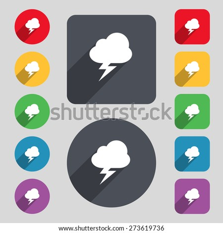 storm icon sign a set of 12