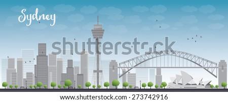 sydney city skyline with blue