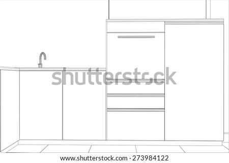 kitchen vector sketch interior