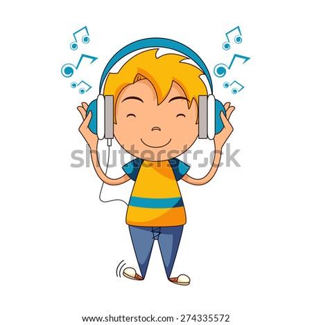 kid listening to music  using