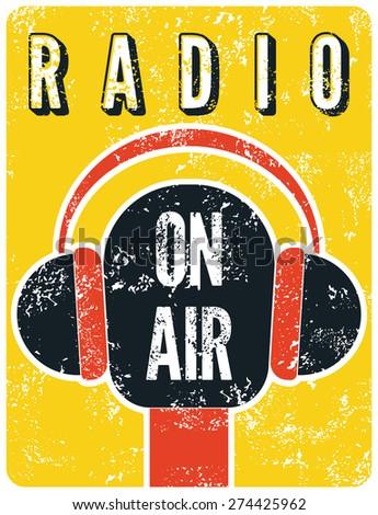 typographic retro grunge radio