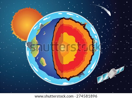 vector cross section of earth