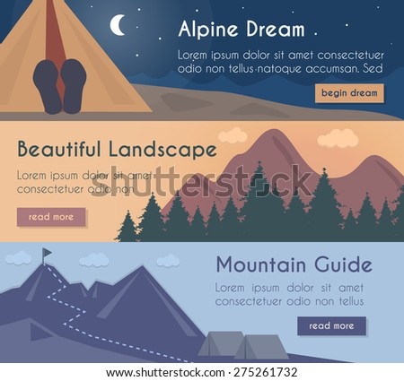 vector banners set  mountain