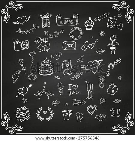 set of love doodle icon set