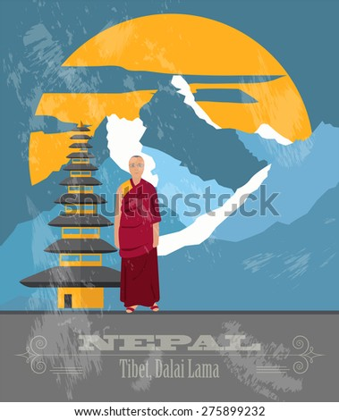 nepal landmarks retro styled
