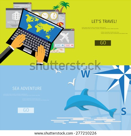 vector flat concept of world
