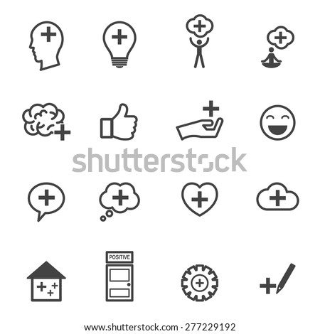 think positive icons  mono