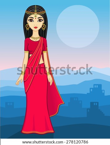 animation indian girl in a