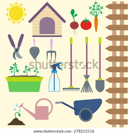garden icons set elements for