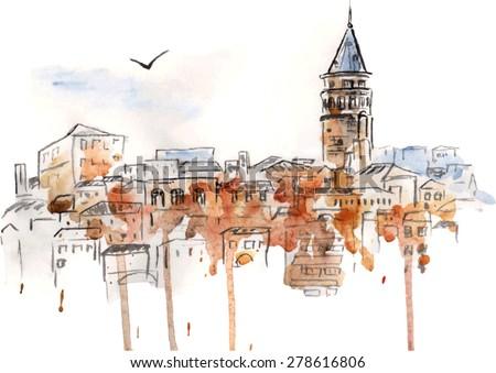vector watercolor urban