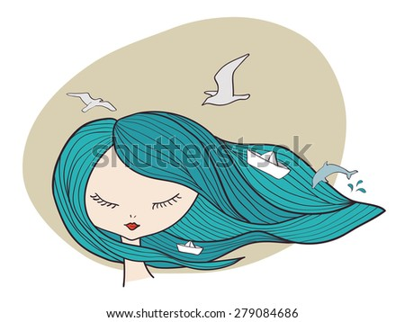 vector marine girl with blue