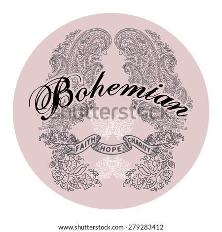 bohemian vector print in round
