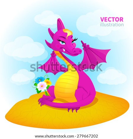 dragon with flowers in desert