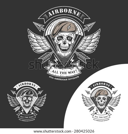 airborne vector emblem with