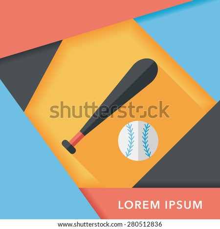 baseball flat icon with long