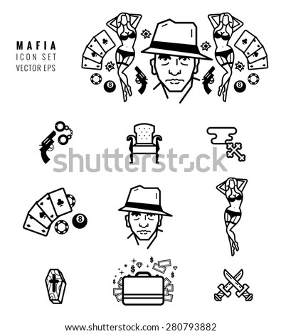 mafia icon set gangster design