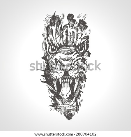 tiger anger black tattoo