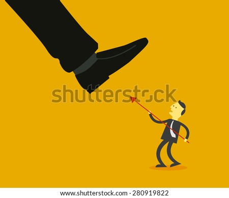 businessman fighting with giant