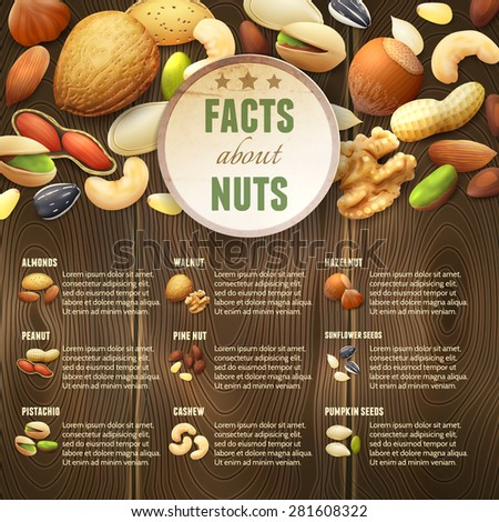 natural raw nuts food mix on