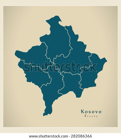 modern map   kosovo with
