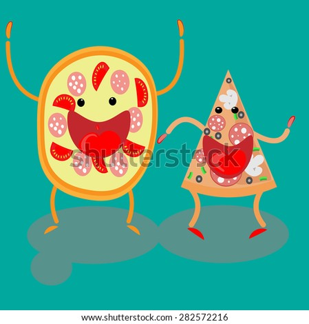 pizza slice fastfood vector