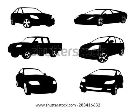 sets of silhouette cars vehicle