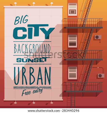 sunset city banner on a wall