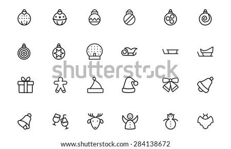 christmas line vector icons 2