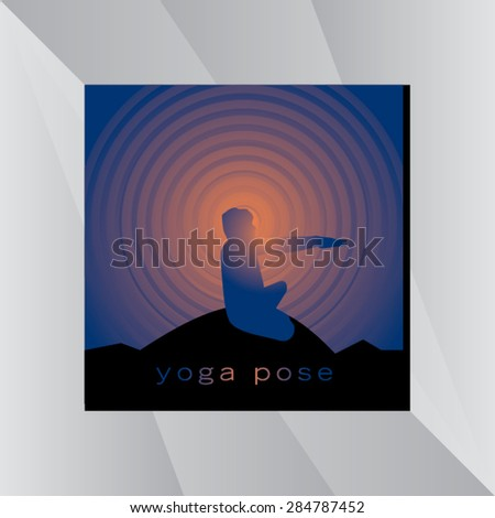 yoga posture with sunset
