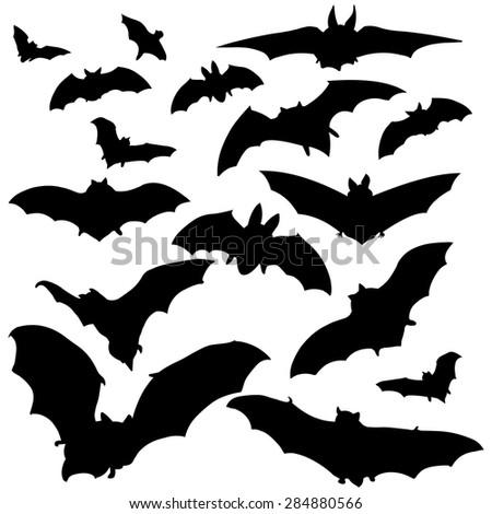 vector set of black bats