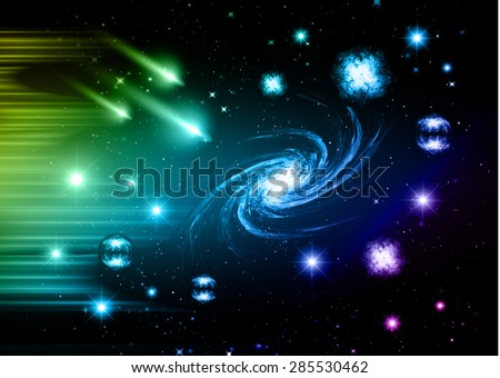 stars of a planet and galaxy in