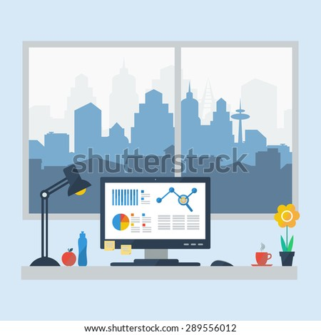 flat design of modern office