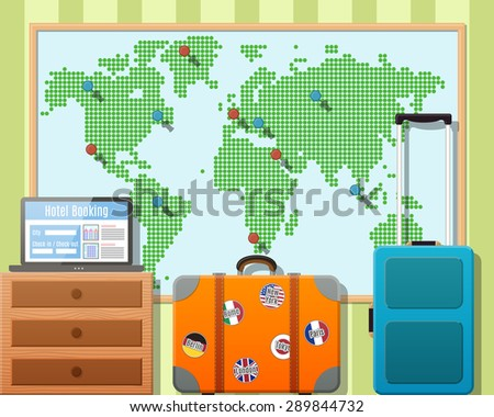 travel suitcases with stickers
