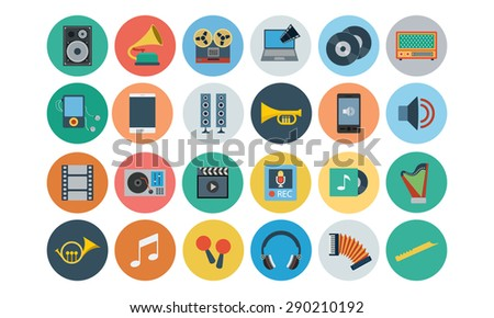 flat multimedia vector icons 2