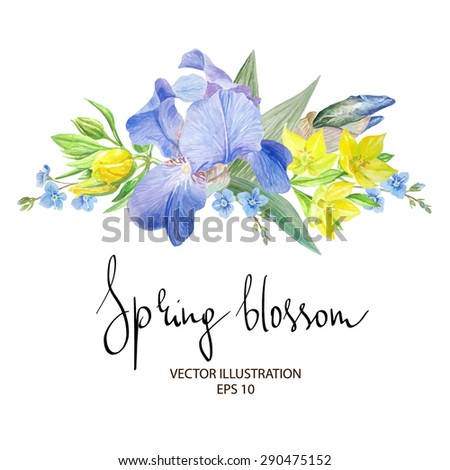 floral composition with blue