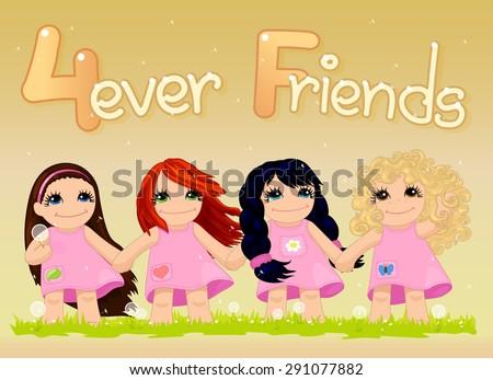 vector  cute card with four