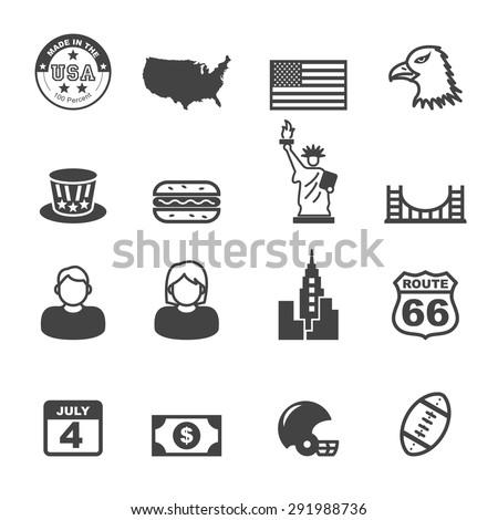 america icons  mono vector