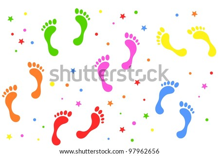 colorful footprints background