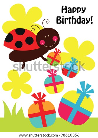 cute card with fun ladybird