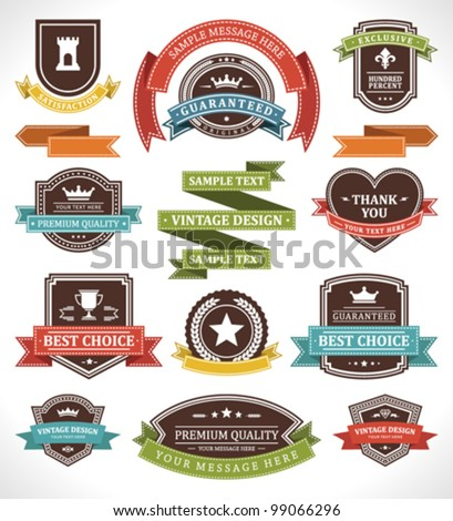 vintage labels and ribbon retro