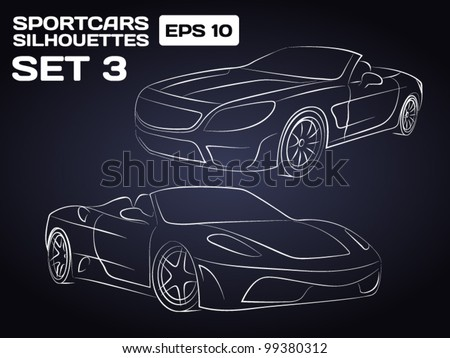 sport car silhouettes set 3