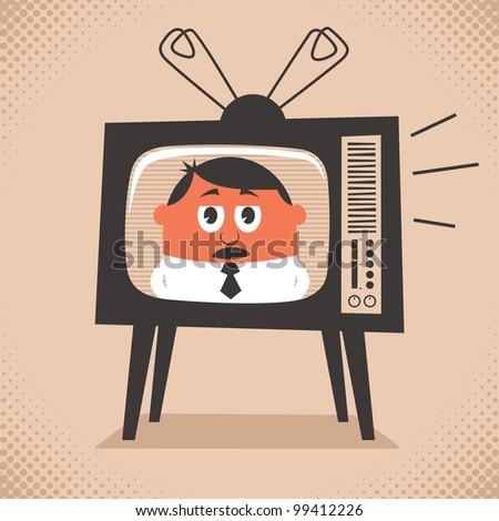 tv news  cartoon illustration