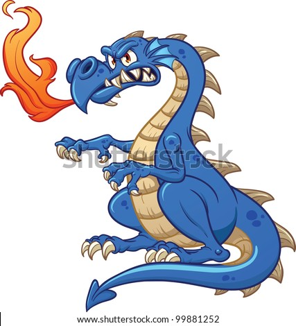 cartoon blue dragon vector