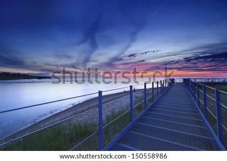A Beautiful daybreak over the beach of Michigan Lake USA - stock photo
