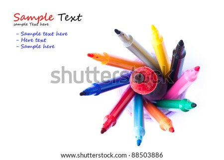 A big marker in small markers on white background - stock photo