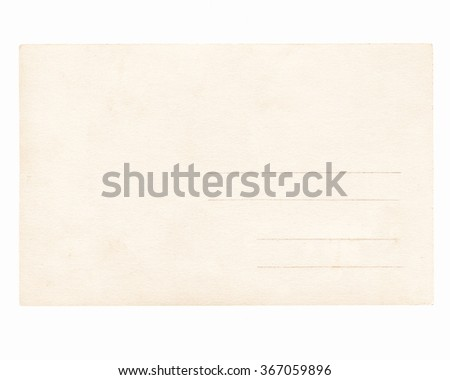 A blank postcard useful as a background - isolated over white background vintage