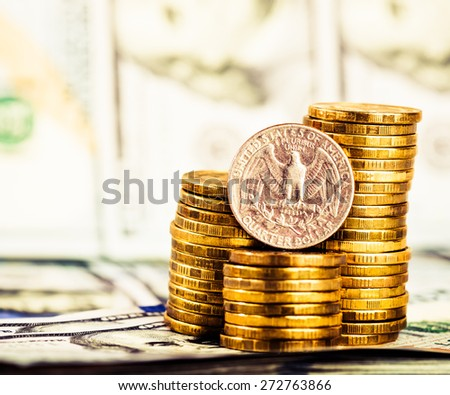 a coin in the dollar quarter, located on the American dollars - stock photo