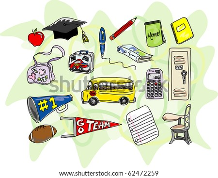 A collection of stylized school icons - stock photo
