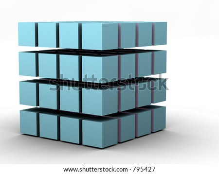 #4 - a 3d render of a cube (part of a series) - stock photo