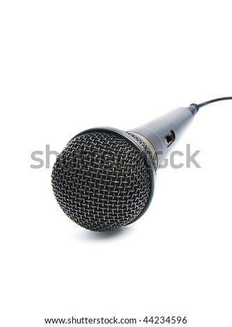 A dynamic mic with a cable over white